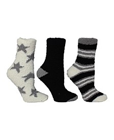 Women's 3 Pack Star and Multi Stripe Cozy Socks, Online Only