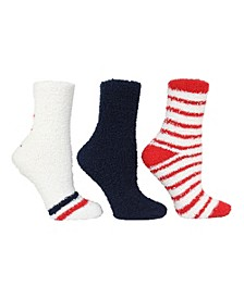 Women's 3 Pack Star and Thin Stripe Cozy Socks, Online Only