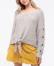 Fuzzy Knit Sweater with Front-Tie