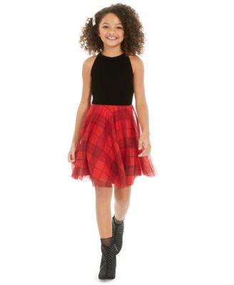 Big Girls Velvet & Plaid Dress, Created For Macy's