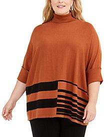 Alfani Plus Size Colorblocked Turtleneck Poncho, Created for Macy's