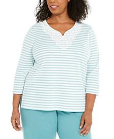 Plus Size Monotone Stripe Top