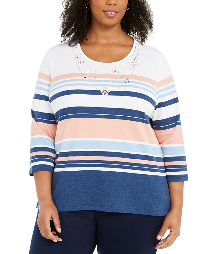 Alfred Dunner Pearls of Wisdom Plus Size Embellished Striped Top