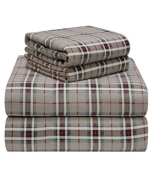 Pointehaven Plaid Flannel Twin Sheet Set