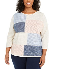 Plus Size Pearls of Wisdom Colorblocked Sweater