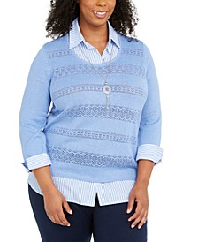 Plus Size Pearls Of Wisdom Layered-Look Shirt And Sweater