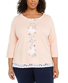 Plus Size Embroidered Butterfly Top