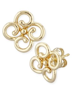 Twist Clover Stud Earrings Set in 14k Yellow Gold
