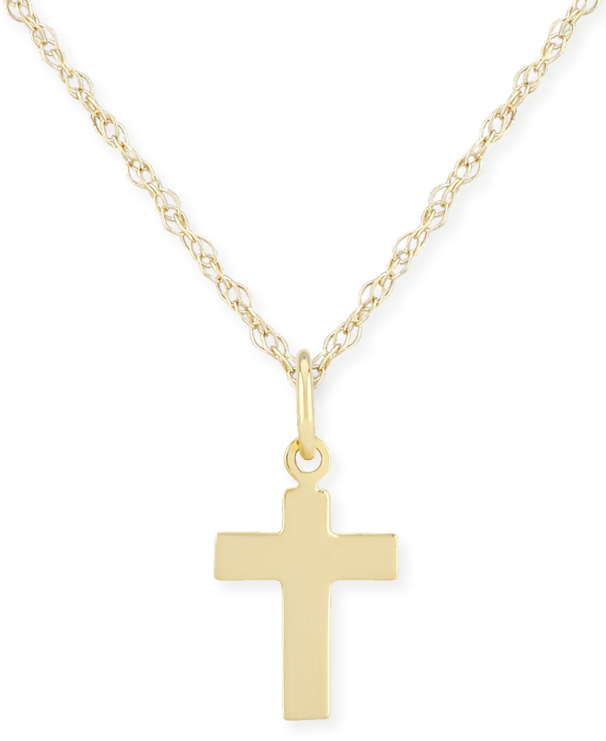 Flat Cross Necklace Set in 14k Gold