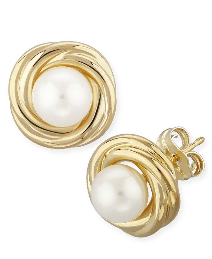 Macy's - Love Knot Pearl (5 mm) Stud Earrings Set in 14k Yellow Gold