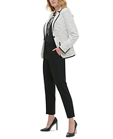 Marled Piped Blazer, Dotted Tie-Neck Top & Ankle Pants