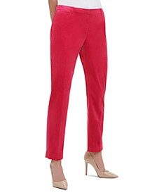 Velvet Slim-Leg Dress Pants