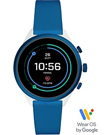 Unisex Sport HR Blue Silicone Strap Touchscreen Smart Watch 41mm, Powered by Wear OS by Google™
