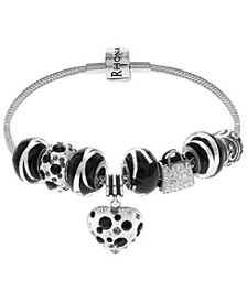 Link Up Dotted Heart Crystal and Glass Bead Charm Bracelet in Sterling Silver