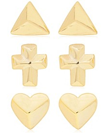 Link Up 3-Piece Set Triangle, Cross and Heart Stud Earrings in 18K Gold Over Sterling Silver
