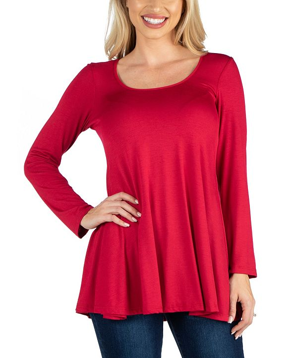 24seven Comfort Apparel Long Sleeve Solid Color Swing Style Flared Tunic Top