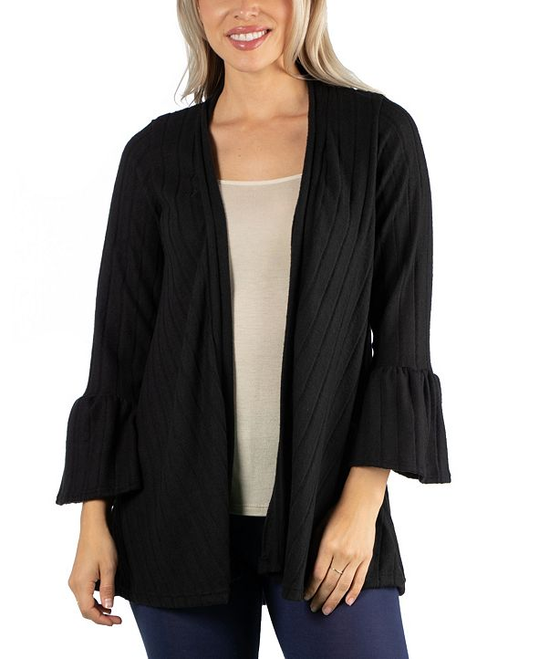 24seven Comfort Apparel Cozy Bell Sleeve Women Cardigan
