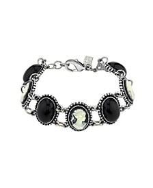 Oval Stone and Cameo Link Bracelet