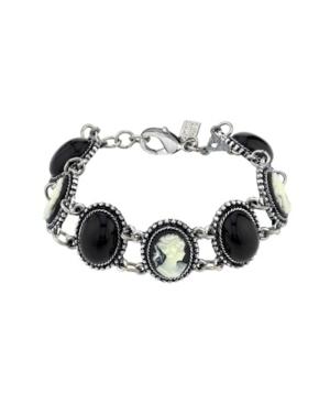 Oval Stone and Cameo Link Bracelet