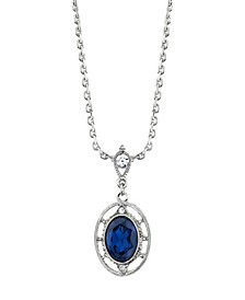 Crystal Oval Drop Necklace
