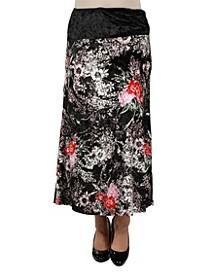Women Floral Print Velvet Maxi Skirt