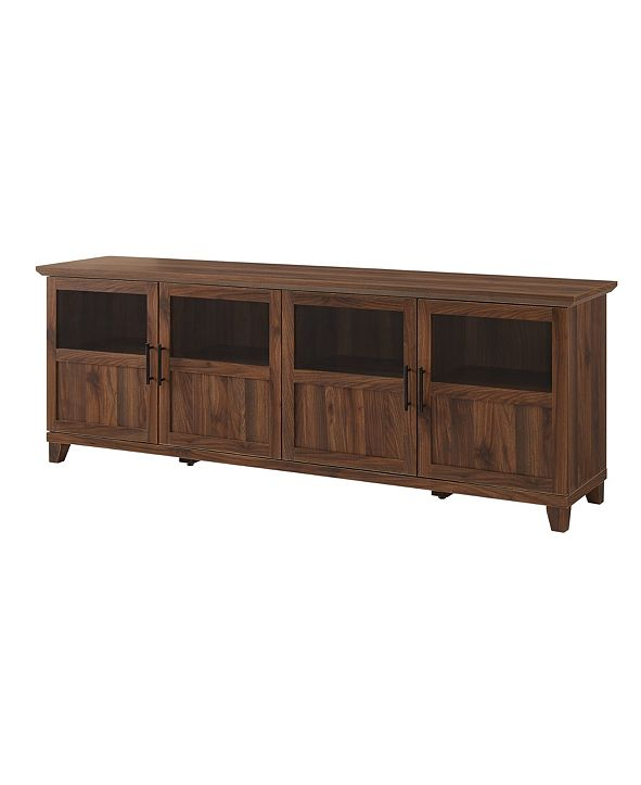 Walker Edison TV Console with Glass Wood Panel Doors