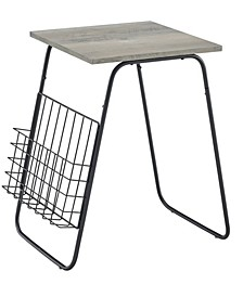 Modern Side Table with Magazine Holder