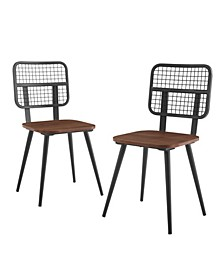 Industrial Mesh Back Dining Chair, Set Of 2