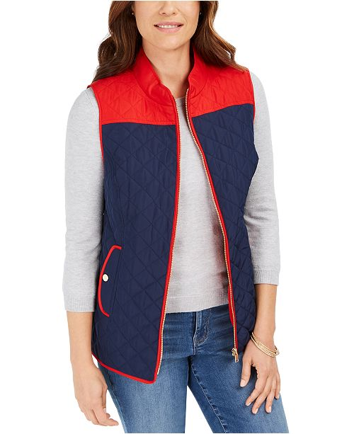 Charter Club Colorblocked Quilted Vest, Created For Macy's