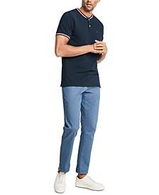 Men's Eaton Custom-Fit Tipped Collarless Polo Shirt