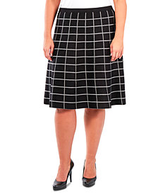 NY Collection Plus Size Pull-On Window Pane Skirt
