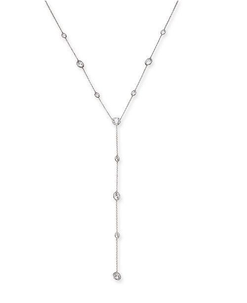 "Eliot Danori Silver-Tone Cubic Zirconia Lariat Necklace, 16"" + 1"" extender, Created For Macy's"