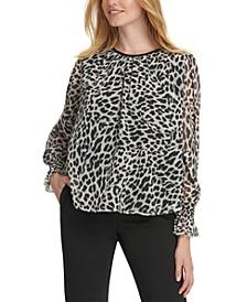 Leopard-Print Crinkle-Chiffon Top