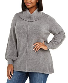 Plus Size Metallic Cowlneck Tunic Sweater