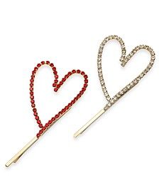INC 2-Pc. Gold-Tone Pavé Open Heart Bobby Pin Set, Created For Macy's