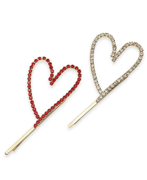 INC International Concepts INC 2-Pc. Gold-Tone Pavé Open Heart Bobby Pin Set, Created For Macy's