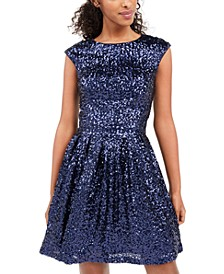 Juniors' Sequined Fit & Flare Dress