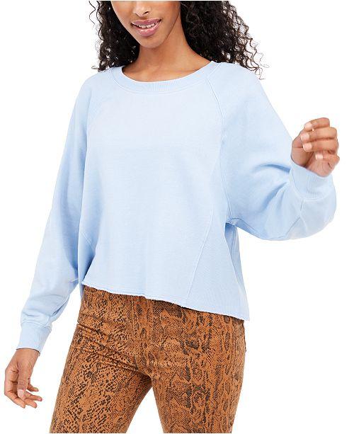 Hippie Rose Juniors' Cropped Raw-Edged Sweatshirt