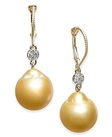 Cultured Baroque Golden South Sea Pearl (12mm) & Diamond (1/10 ct. t.w.) Drop Earrings in 14k Gold