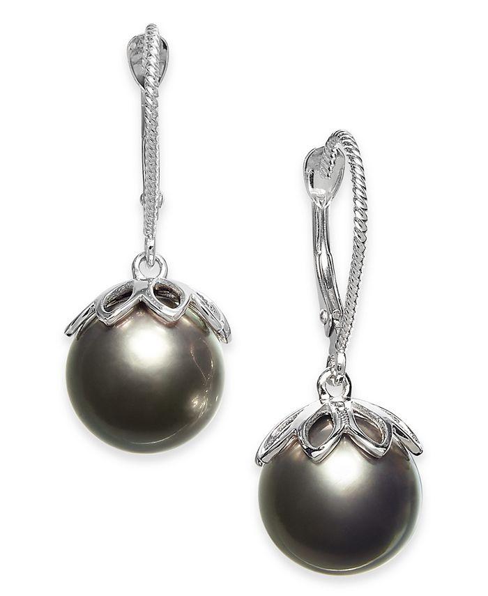 Macy's - Cultured Black Tahitian Pearl (10mm) Drop Earrings in 14k White Gold