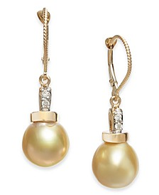 Cultured Baroque Golden South Sea Pearl (10mm) & Diamond (1/20 ct. t.w.) Drop Earrings in 14k Gold