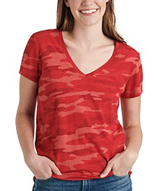 V-Neck Printed Cotton T-Shirt