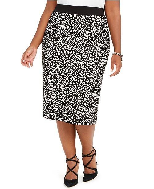 Michael Kors Plus Size Animal-Print Jacquard Pencil Skirt