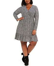 Plus Size Mini-Animal-Print Flounce Dress