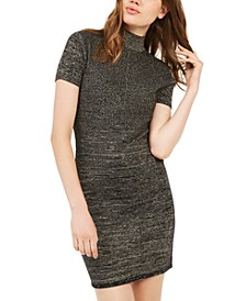 Juniors' Metallic Mock-Neck Dress