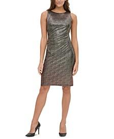 Ruched Metallic Sheath Dress