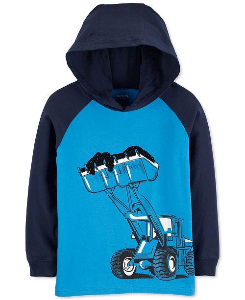 Carter's Little & Big Boys Hooded Construction-Print Cotton T-Shirt