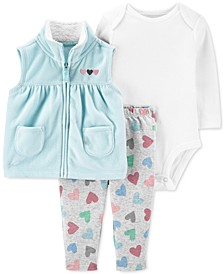 Baby Girls 3-Pc. Vest, Bodysuit & Heart-Print Pants Set