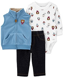 Baby Boys 3-Pc. Bear Vest, Bear-Print Bodysuit & Pants Set