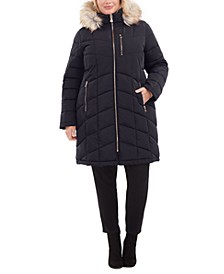 Plus Size Faux-Fur-Trim Hooded Water-Resistant Puffer Coat, Created for Macy's
